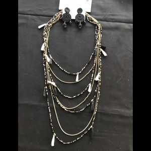 Lower Price Beaded Strand Necklace and Earrings-A